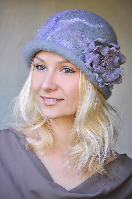 """Шляпы ручной работы. Ярмарка Мастеров - ручная работа. Купить Шляпка """"За туманами"""". Handmade. Шапка, валяная шляпка, абстрактный"""