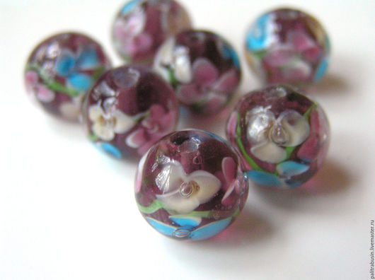 Для украшений ручной работы. Ярмарка Мастеров - ручная работа. Купить Лэмпворк бусины шар 12 мм 3 цвета. Handmade.
