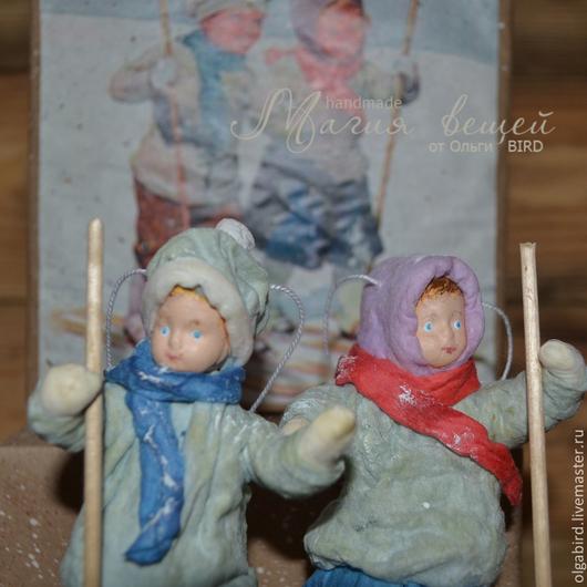 Новый год 2017 ручной работы. Ярмарка Мастеров - ручная работа. Купить Ватная елочная игрушка ДЕТКИ С ОТКРЫТКИ Детки на лыжах. Handmade.