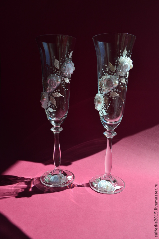 Свадебные аксессуары ручной работы. Ярмарка Мастеров - ручная работа. Купить Свадебные бокалы с розами, свадьба 2015. Handmade. Белый