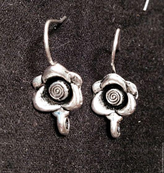 Для украшений ручной работы. Ярмарка Мастеров - ручная работа. Купить Швензы с розой, античное серебро, 1 пара. Handmade.