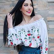 """Одежда handmade. Livemaster - original item Женский нарядный комплект - вышитая блуза и юбка """"Ягоды и цветы"""". Handmade."""