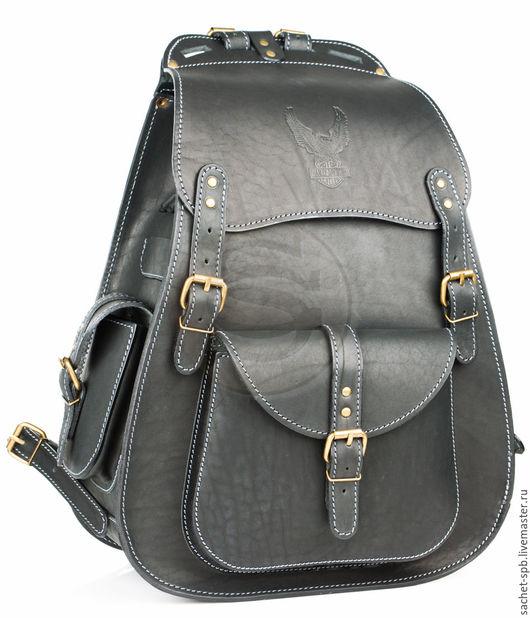 """Рюкзаки ручной работы. Ярмарка Мастеров - ручная работа. Купить Мужской кожаный рюкзак """"Байкер"""" черный. Handmade. Кожаный рюкзак"""