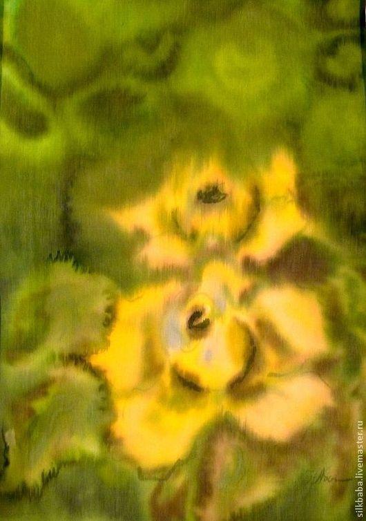 """Шарфы и шарфики ручной работы. Ярмарка Мастеров - ручная работа. Купить Шарф """"Солнечные розы"""". Handmade. Зеленый"""