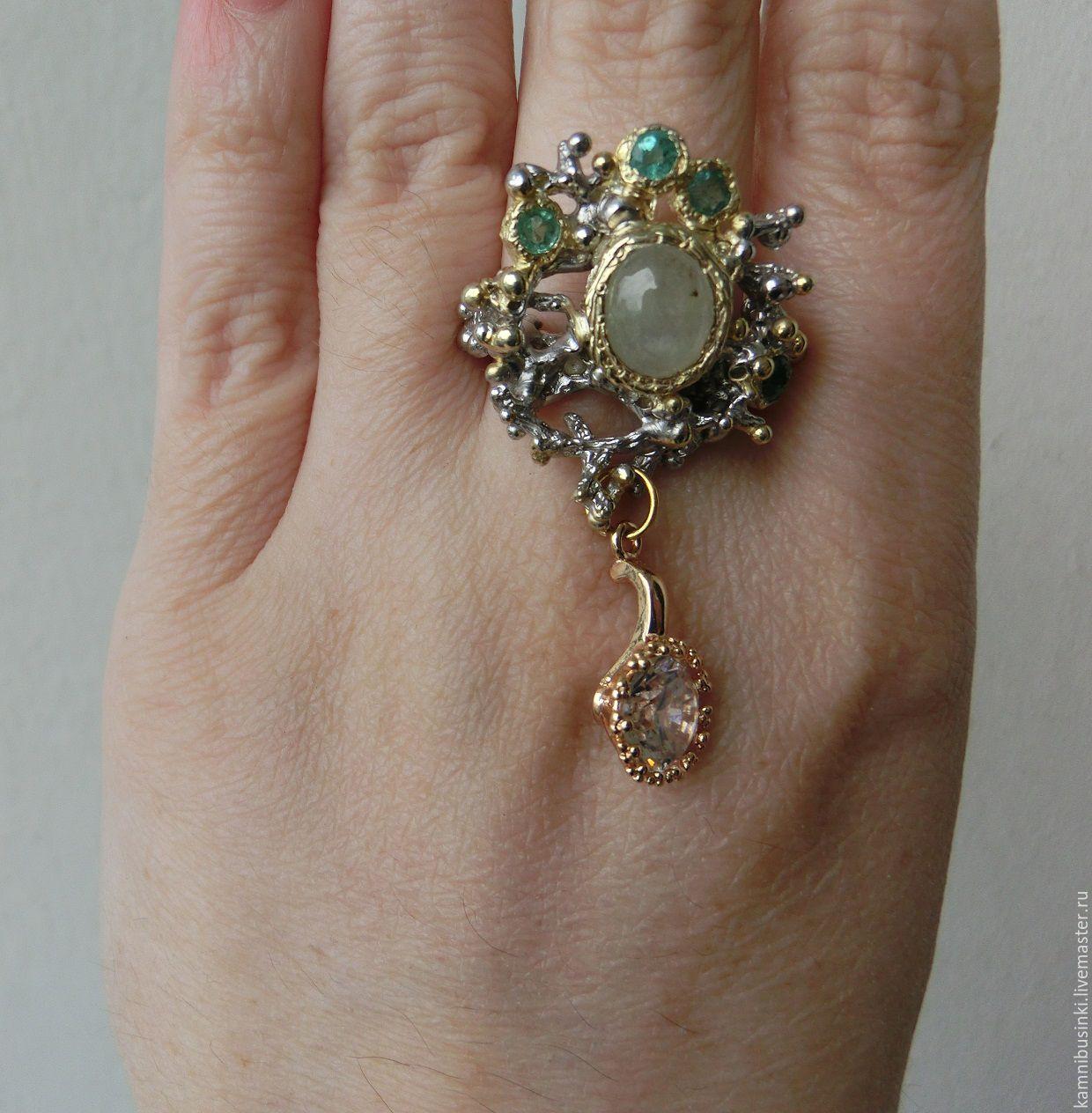 кольца с аквамарином в золоте