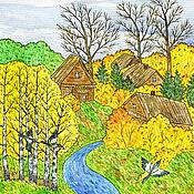 Картины и панно handmade. Livemaster - original item Painting for the house Autumn landscape autumn in the village. Handmade.