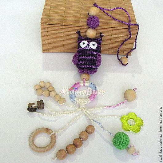 """Развивающие игрушки ручной работы. Ярмарка Мастеров - ручная работа. Купить Слингоигрушк 3в1 MIX (слингоигрушка-прорезыватель-погремушка)""""Совушка"""". Handmade."""