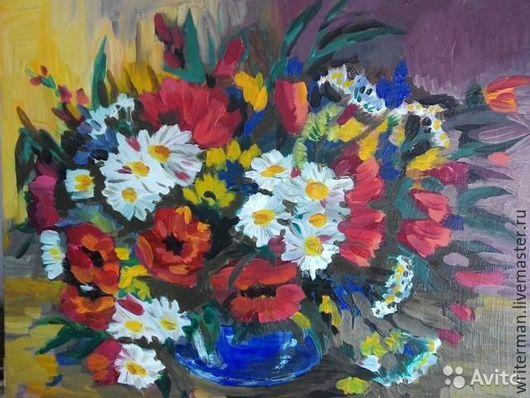 Картины цветов ручной работы. Ярмарка Мастеров - ручная работа. Купить цветочный темперамент. Handmade. Комбинированный, картина, масло