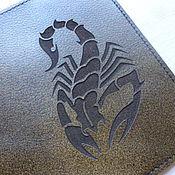 Канцелярские товары ручной работы. Ярмарка Мастеров - ручная работа Обложка на паспорт Скорпион. Кожаная обложка для паспорта. Handmade.