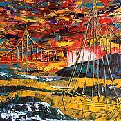 Картины и панно ручной работы. Ярмарка Мастеров - ручная работа Закат в Сан-Франциско. Handmade.