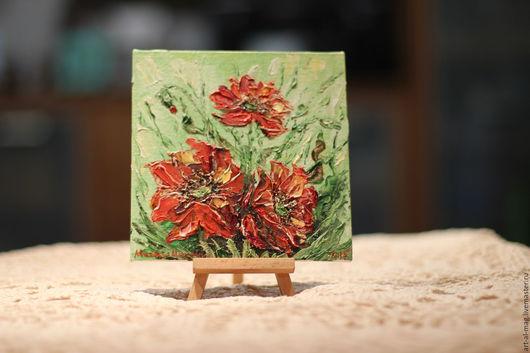 Картины цветов ручной работы. Ярмарка Мастеров - ручная работа. Купить Маковый этюд. Handmade. Ярко-красный, букет