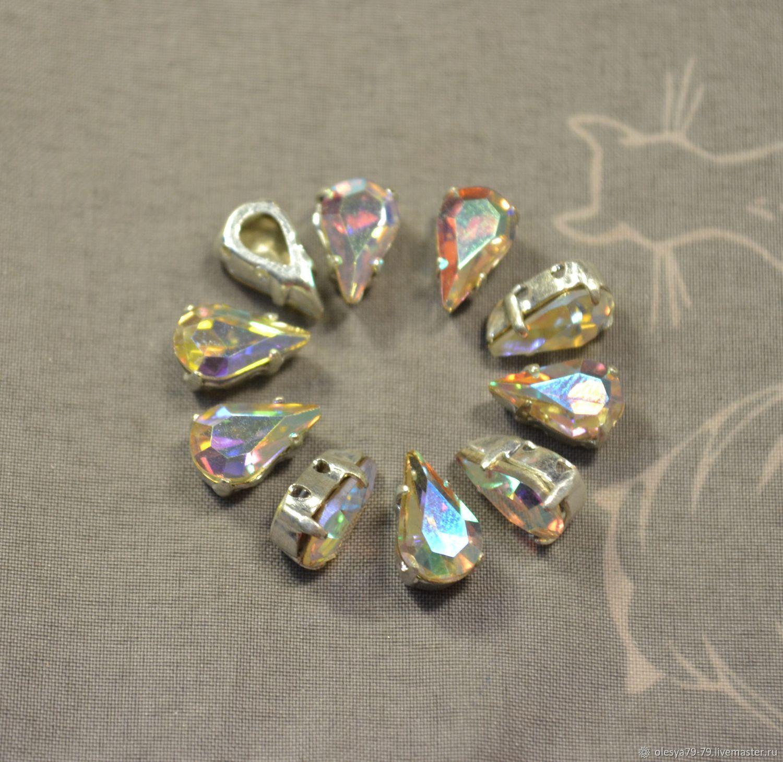 1pc Rhinestones drops 10h6 Czech Crystal AB in DACs, Crystals, Chelyabinsk,  Фото №1
