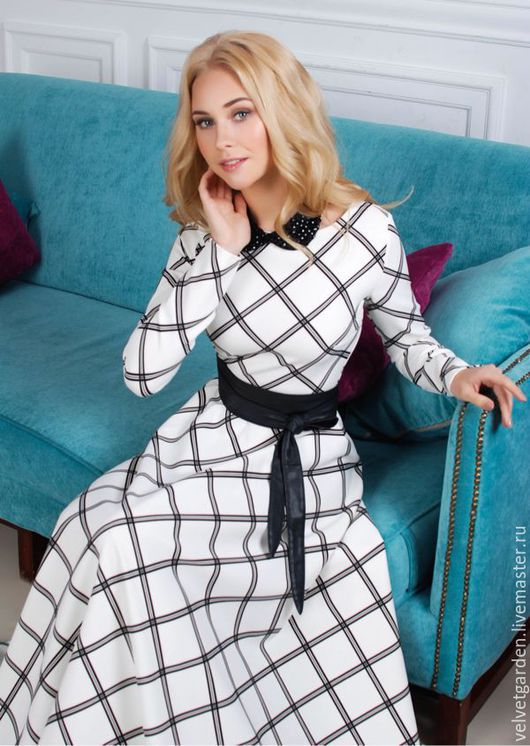 Платье осеннее длинное  в клеточку теплое осеннее платье