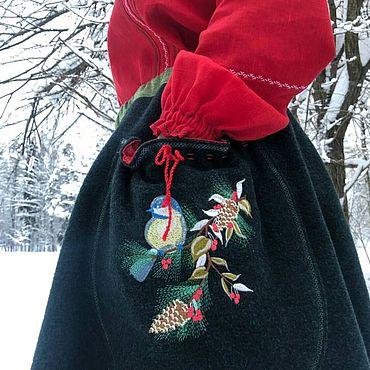 Русский стиль ручной работы. Ярмарка Мастеров - ручная работа Юбка зимняя суконная с вышивкой. Handmade.