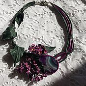 Necklace handmade. Livemaster - original item Necklace made of leather and natural stone.. Handmade.