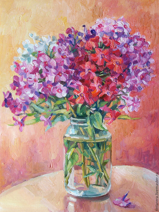"""Натюрморт ручной работы. Ярмарка Мастеров - ручная работа. Купить Картина """"Флоксы"""". Handmade. Рыжий, цветы, масляная живопись"""