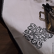 """Для дома и интерьера ручной работы. Ярмарка Мастеров - ручная работа Скатерть """" Черно-белая"""". Handmade."""
