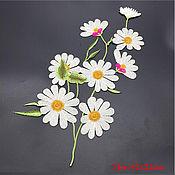 Материалы для творчества handmade. Livemaster - original item Unmatched thermo embroidery, applique, Bouquet of daisies. Handmade.