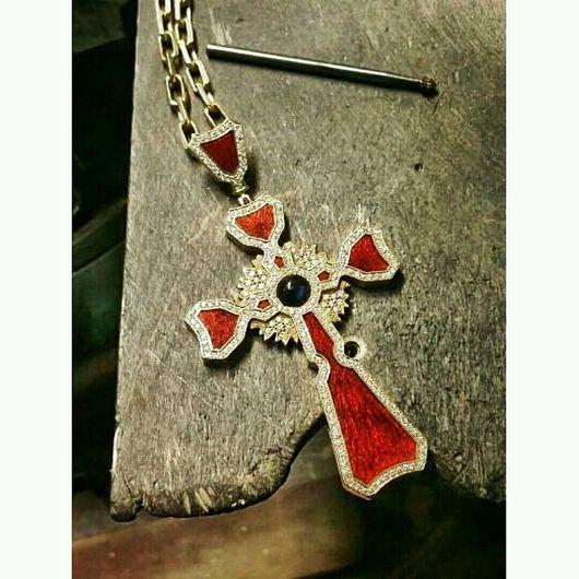 Кулоны, подвески ручной работы. Ярмарка Мастеров - ручная работа. Купить Крест с эмалью. Handmade. Крест, православный крест