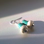 Украшения handmade. Livemaster - original item Silver earrings with turquoise and howlite