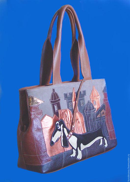 кожаная сумка с аппликацией из натуральной кожи