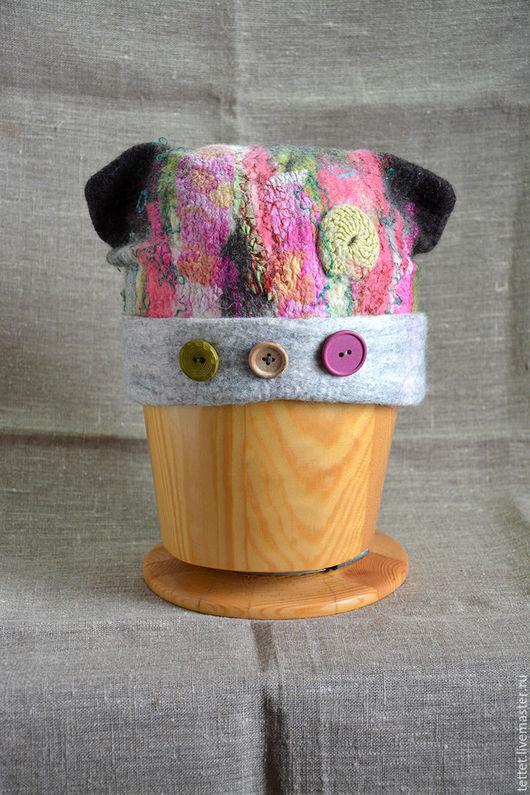 """Шапки ручной работы. Ярмарка Мастеров - ручная работа. Купить """"Пуговки"""" шапка. Handmade. Разноцветный, шапка зимняя, шапка и шарф"""