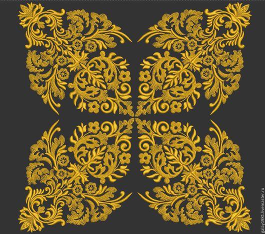 """Вышивка ручной работы. Ярмарка Мастеров - ручная работа. Купить Дизайн машинной вышивки. """"Узор для подушки"""".. Handmade. золотой"""