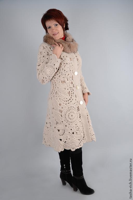 """Верхняя одежда ручной работы. Ярмарка Мастеров - ручная работа. Купить Пальто """"Леди"""". Handmade. Бежевый, ирландское вязание"""
