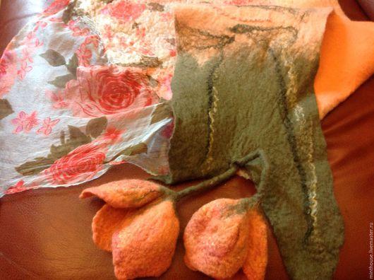 Шарфы и шарфики ручной работы. Ярмарка Мастеров - ручная работа. Купить Валяный бактус ПЕРЛАМУТР, шарфик шерстяной с тюльпанами. Handmade.