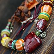 Работы для детей, handmade. Livemaster - original item Short beads in the BOHO style made of ceramic
