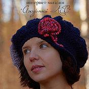 Аксессуары handmade. Livemaster - original item Dark blue warm body cap Gavroche beret with rose. Handmade.