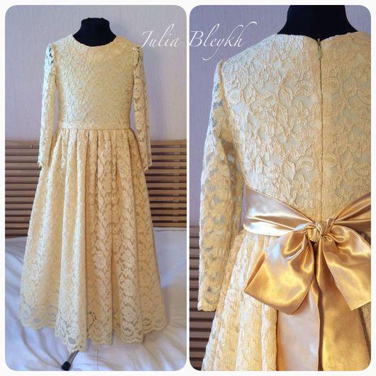 """Платья ручной работы. Ярмарка Мастеров - ручная работа. Купить Платье """"Золотое"""". Handmade. Платье для девочки, золотое платье, гипюр"""