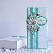 Свадебный салон ручной работы. Ярмарка Мастеров - ручная работа Авторская свадебная открытка в бело-бирюзово-розовой гамме. Handmade.