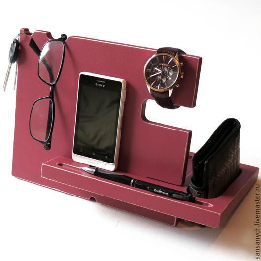 Для телефонов ручной работы. Ярмарка Мастеров - ручная работа. Купить Док-станция для Iphone бордового цвета.. Handmade. Бордовый