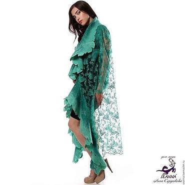 Одежда ручной работы. Ярмарка Мастеров - ручная работа Пальто-накидка Яркая Зелень ручной работы в любом размере, длине. Handmade.
