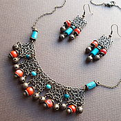 Украшения handmade. Livemaster - original item Merry bells. A bright necklace and earrings with coral and turquoise. Handmade.