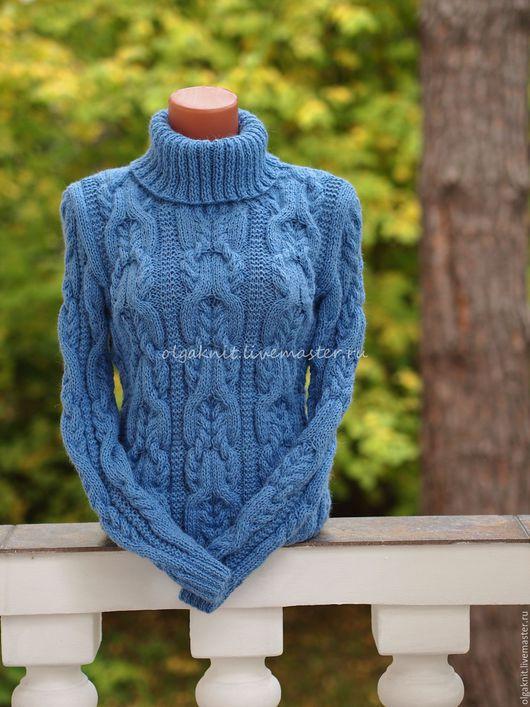 Кофты и свитера ручной работы. Ярмарка Мастеров - ручная работа. Купить Объемный шерстяной свитер. Handmade. Голубой, свитер теплый