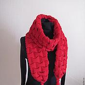 Аксессуары ручной работы. Ярмарка Мастеров - ручная работа шарф алого цвета. Handmade.