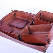 Канцелярские товары handmade. Livemaster - original item Desktop set made of genuine leather for the office. Handmade.