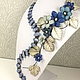 Order Valley Star Winds. Necklace made of lapis lazuli, flowers made of genuine leather. ms. Decorator. Livemaster. . Jewelry Sets Фото №3