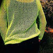 """Одежда ручной работы. Ярмарка Мастеров - ручная работа Пуловер-сетка хлопковый """"Неон"""". Handmade."""