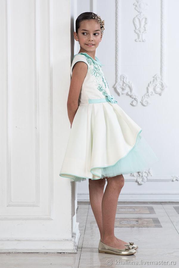 Платье айвори с мятой