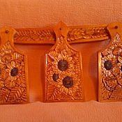 Посуда handmade. Livemaster - original item Cutting boards made of wood Sunflowers, 3 PCs. The art of carving. Handmade.