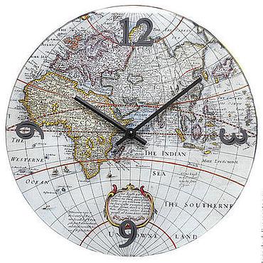 """Для дома и интерьера ручной работы. Ярмарка Мастеров - ручная работа Настенные часы """"Старая карта мира"""". Handmade."""
