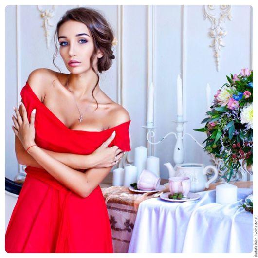 Платья ручной работы. Ярмарка Мастеров - ручная работа. Купить Накидка Пурпурная роза. Handmade. Ярко-красный, алый