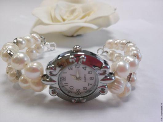 Браслеты ручной работы. Ярмарка Мастеров - ручная работа. Купить Браслет-часы из натурального жемчуга. Handmade. Белый, браслет из жемчуга