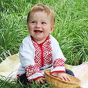 Работы для детей, handmade. Livemaster - original item Children`s shirt with embroidery in Russian style. Handmade.