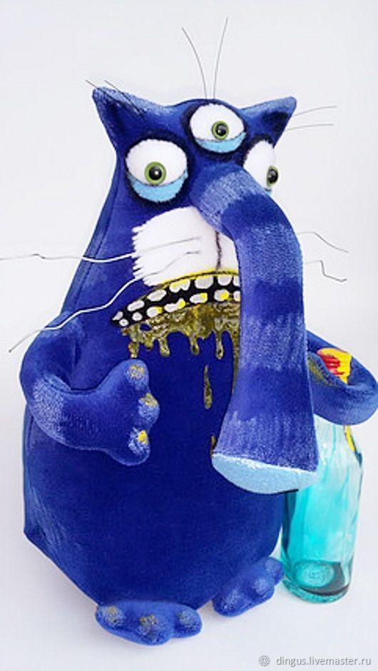 Игрушки животные, ручной работы. Ярмарка Мастеров - ручная работа. Купить Игрушка синий похмельный кот. Handmade. Тёмно-синий