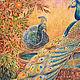 Интерьерное панно `Павлины` авторская ручная роспись на заказ silk handmade russia Шёлковые Штучки  Дизайнеры Ксения и Ольга