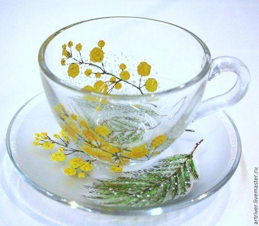 Сервизы, чайные пары ручной работы. Ярмарка Мастеров - ручная работа. Купить Чайная пара Мимоза. Handmade. Желтый